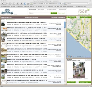Roost's search results page